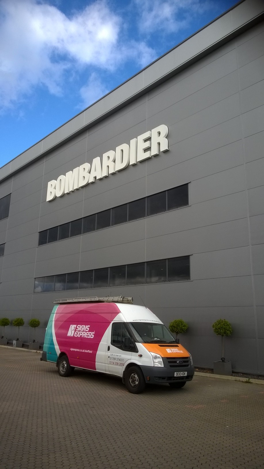 Bombardier (Biggin Hill airport) LED's built up powder 3metre coated letters